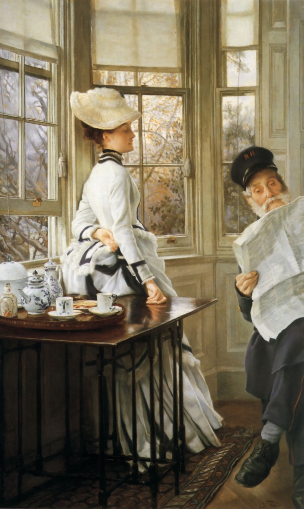 Reading the News (c. 1874), by James Tissot.  Oil on canvas, 34 by 20.5 in (86.4 by 52 cm).  Private Collection.  (Photo:  Wikimedia.org)