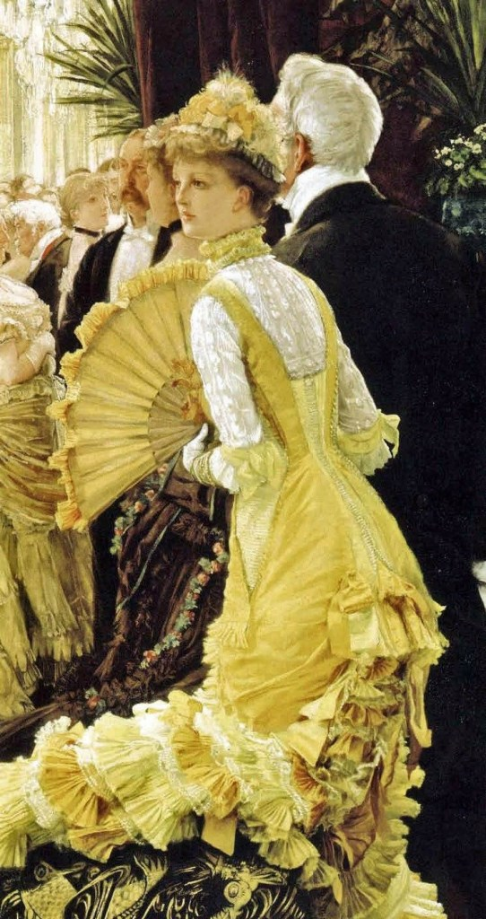 Evening (Le bal, 1878), by James Tissot. Oil on canvas, 35 7/16 by 19 11/16 in. (90 by 50 cm).  Musée Orsay, Paris.  (Photo: Wikimedia.org)