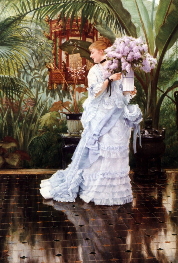 The Bunch of Lilacs (c. 1875), by James Tissot.  Oil on canvas, 21 by 15 in. (53.34 by 38.10 cm).  Private Collection.  (Photo:  Wikimedia.org)