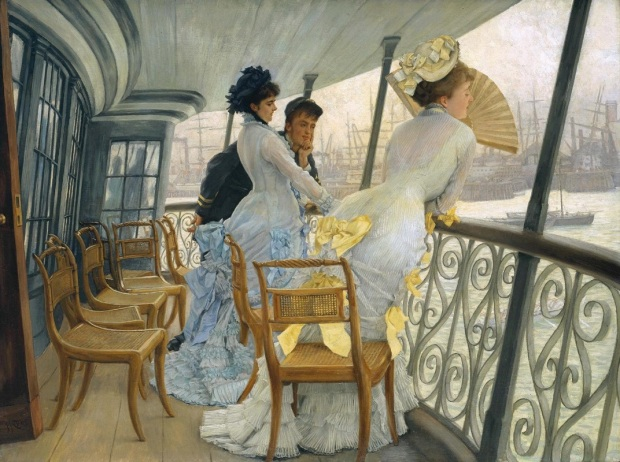 Caption:  The Gallery of HMS. Calcutta (Portsmouth, c. 1876), by James Tissot. Oil on canvas, 27 by 36 1/8 in. (68.5 by 92 cm). Tate, London.  (Photo: Wikimedia.org)