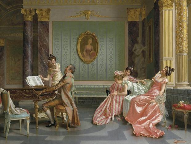 The Recital by Vittorio Reggianini, (l1858-1938).