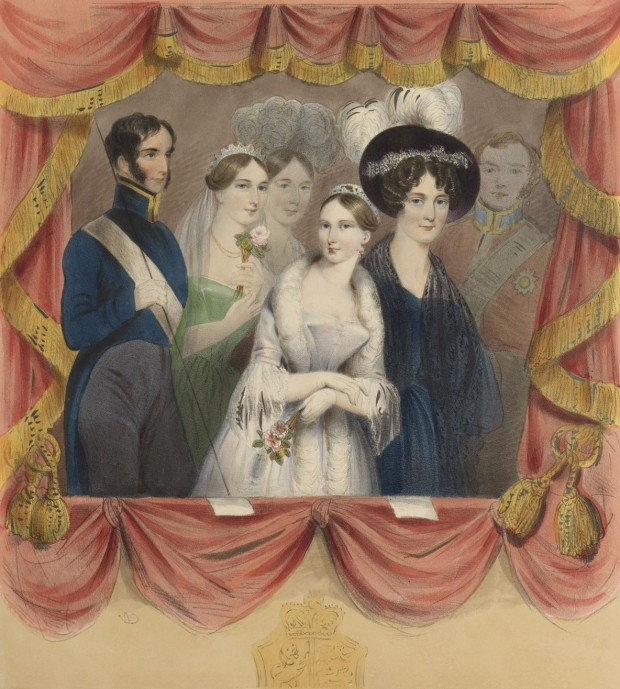 Victoria is depicted with a fur stole around her shoulders rather than the black lace scarf she wore. (Left to right) the Marquess of Conyngham, the Duchess of Sutherland, the Marchioness of Tavistock, Queen Victoria, the Duchess of Kent and Earl Albemarle. Her Majesty as she appeared on her first visit to the Covent Garden Theatre by William Drummond, 1837. Royal Collection Trust/© Her Majesty Queen Elizabeth II 2016
