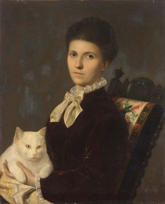 Portrait of a Lady with a White Cat by Anonymous Artist, 19th Century.