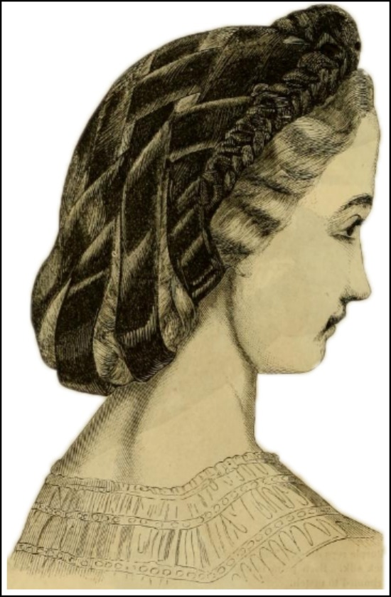 Velvet Hair Net, Godey's Lady's Book, February 1863.