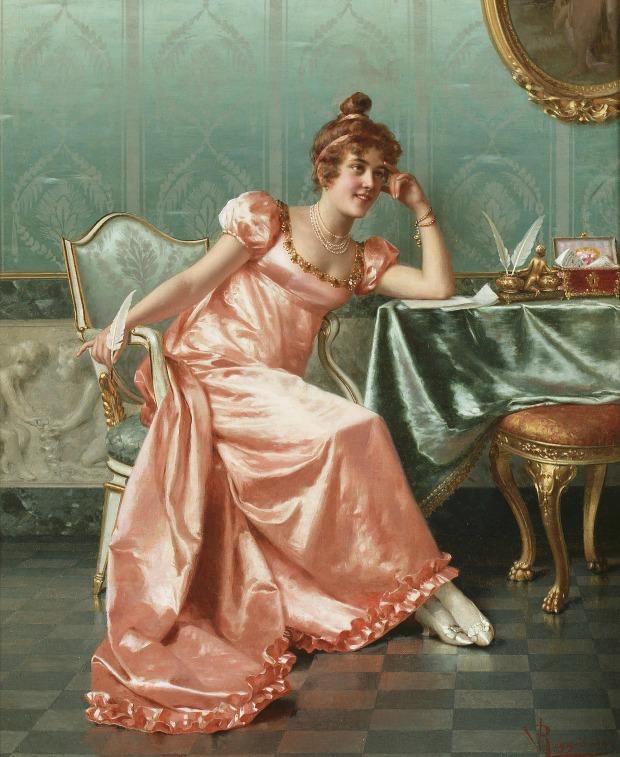 Composing a Letter by Vittorio Reggianini, (1858–1938).