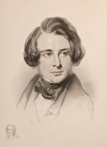 Sketch of Dickens in 1842 during his American Tour. Sketch of Dickens's sister Fanny, bottom left..