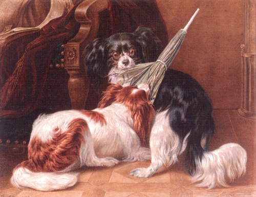 A Dispute - King Charles Spaniels by Benno Adam (1812-1892).
