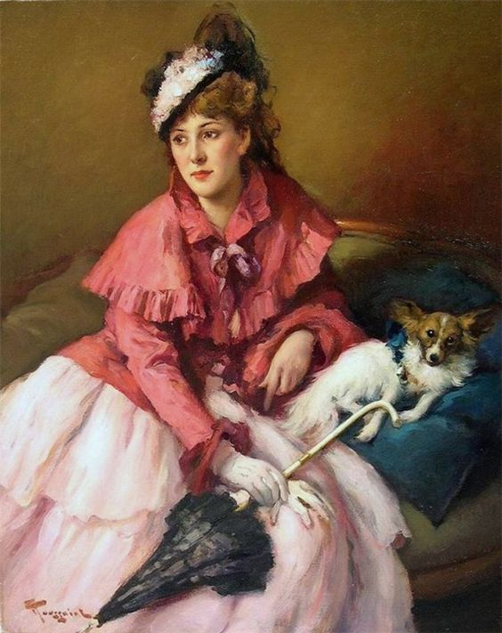 Lady with Dog and Parasol by Fernand Toussaint (1873-1956).
