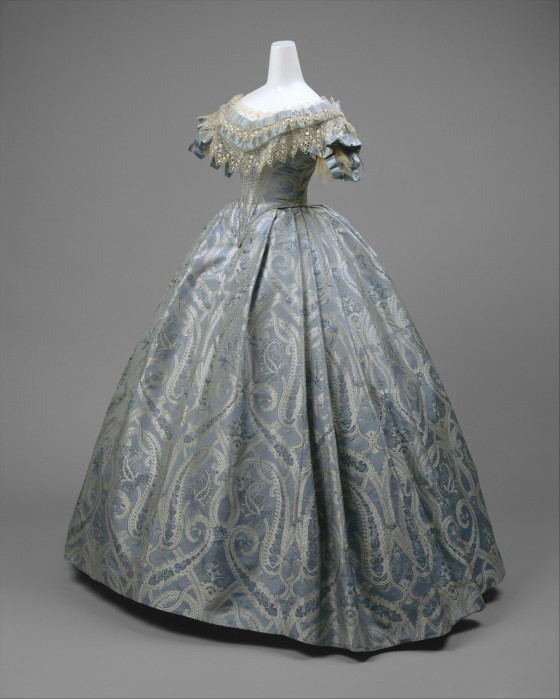 1860 Blue Silk Ball Gown.(Met Museum)