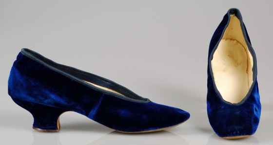 1885 Blue Silk Evening Slippers.(Met Museum)