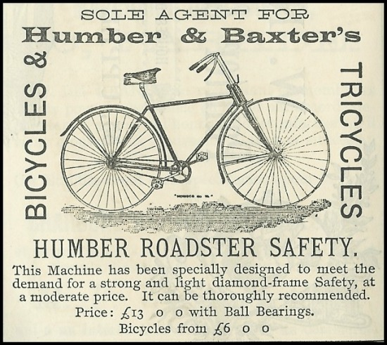 Advertisement for Humber & Baxter's Bicycles, 1892.