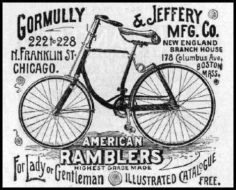 Advertisement for Gormully & Jeffery Rambler Bicycles, 1891.