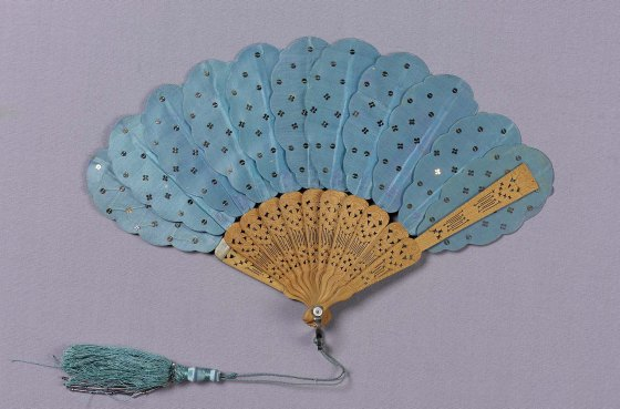 Mid-19th Century Blue Satin Fan.(MFA Boston)